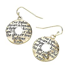 Lord's Prayer Embossed Beaten Gold-Tone Round Dangle Drop Pierced Earrings, 1 ¼ Inches Long