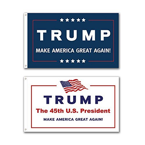 2 Pack -- 3x5ft Commemorative Trump Flag -- Presidental Inauguration Donald Trump -- The 45th U.S. President -- Blue+White -- MAKE AMERICA GREAT AGAIN!!!