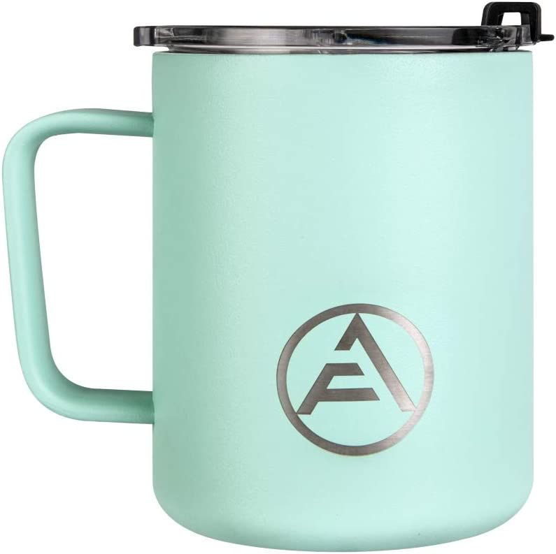 EAF Insulated Coffee Mug with Handle and Lid, Stainless Steel Travel Mug Camping, 12oz Coffee Tumbler Cup for Hot and Cold Drinks - Mint
