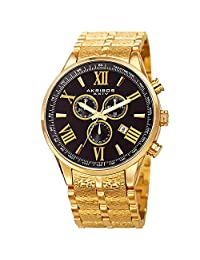 Akribos XXIV Men's Quartz Stainless Steel Casual Watch, Color:Gold-Toned (Model: AK960YGB)