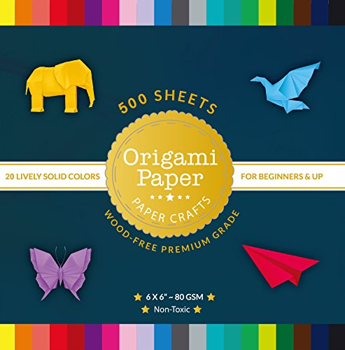 Origami Paper 500 Sheets Double Sided Colored Papers 6-Inch Square - 20 Lively Solid Colors for Arts Projects
