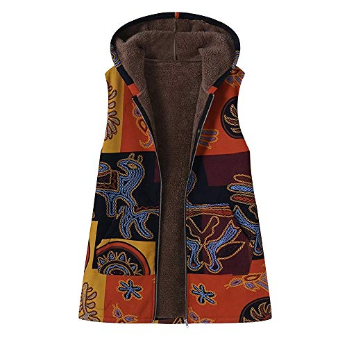 - JOFOW Womens Flannel Lined Vest Plus Size Ethnic Egypt Totem Print Hooded Sleeveless Jackets Coat Vintage Warm Padded Parka (3XL =US:10-14,Yellow)