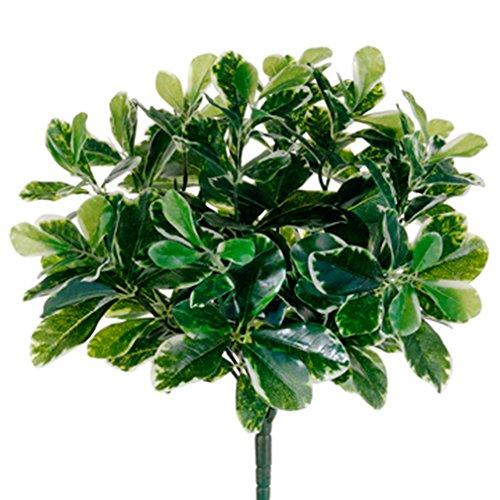 16.5'' UV-Resistant Outdoor Artificial Baby Schefflera Plant -Green (pack of 12) by SilksAreForever