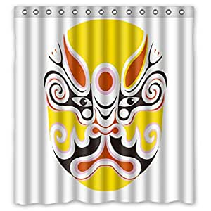 Modern design Anne Anime Facial Makeup in Beijing Opera Shower curtains, size Width * Height / 66*72 inch / 168*183 cm, Polyester, Anti-bacterial, best and suitable for relatives