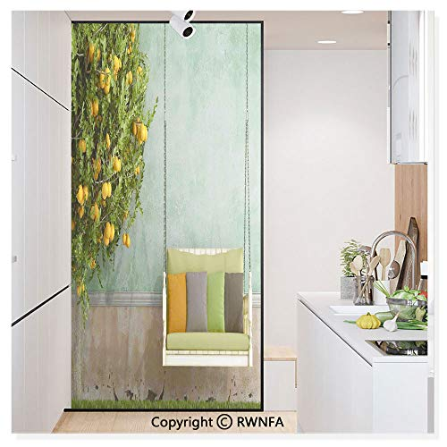 Window Film No Glue Glass Sticker Vintage Wooden Swing in The Garden - Decals Cling Vintage Lemon Mirrors Bathroom
