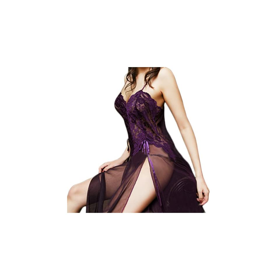 Newest Women Sexy Pajamas Lingerie See through Dress G string Sleepwear (Dark purple) Pajama Sets Clothing
