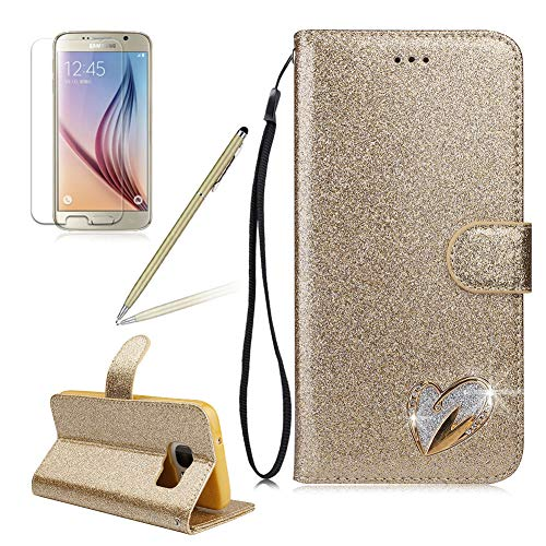 Girlyard Samsung S7 Women Wallet Glitter Case,Shiny Diamond Love Heart Design PU Leather Wallet Flip with Card Holders and Screen Protector Shockproof Cover for Samsung Galaxy S7-Gold
