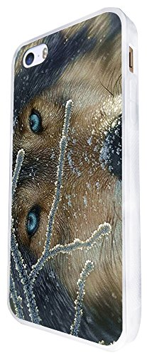 1113 - Cool Fun Wolf Blue Eyes Wildlife Snow Pet Dog Rare Love Design iphone SE - 2016 Coque Fashion Trend Case Coque Protection Cover plastique et métal - Blanc