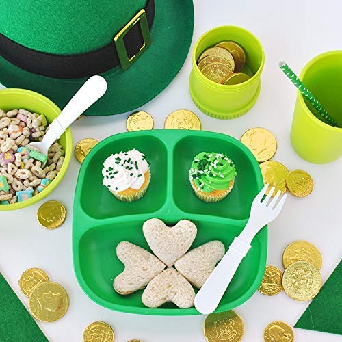 Re-Play Made in USA 4pk Deep Divided Plates in Kelly, Sunny Yellow, White, Black | Made of Eco Friendly Heavyweight Recycled Milk Jugs and Polypropylene - Virtually Indestructible (St. Patrick's Day)