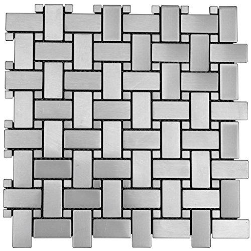 Basket Weave Pattern Stainless Steel Metal Mosaic Tile for Kitchen Backsplash (1 Sheet)