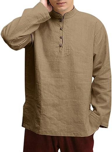 Men/'s plain cotton Shirts Stand up Grandad collar Casual Long sleeve Beige