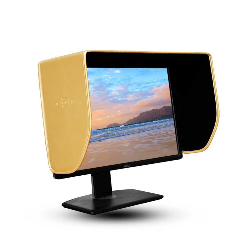 iLooker-27G 27 inch Golden Edition LCD LED Video Monitor Hood Sunshade Sunhood for Dell HP Viewsonic Philips Samsung LG EIZO NEC ASUS ACER BENQ AOC LENOVOO, Fits Monitor Frame Width 635-655mm