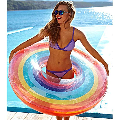 m·kvfa Foldable Swimming Pool Inflatable Rainbow Swim Ring Adult Fruit Swim Ring Unique Lounger Raft at Pool Fun Party (80CM)