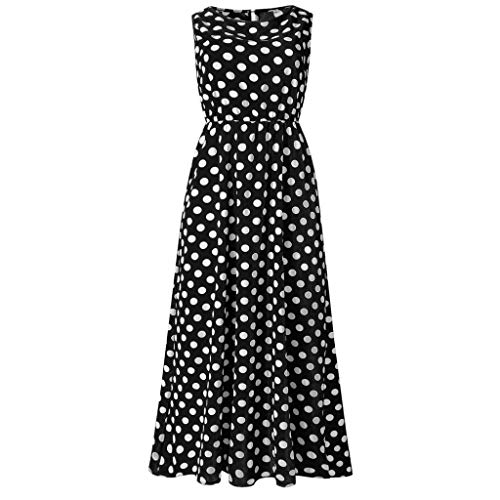 Shirley Spandex Bikini - Dresses for Women Casual Summer Boho Polka-dot Sexy Sundress Sleeveless O Neck Long Dress by Chaofanjiancai Black