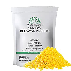 Beeswax Pellets 1 lb, Organic, Yellow, Pure, Natural, Cosmetic Grade, Bees Wax Pastilles, Triple Filtered, Great For DIY Projects, Lip Balms, Lotions, Candles By White Naturals