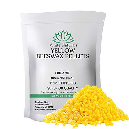 Beeswax Pellets 1 lb, Organic, Yellow, Pure, Natural, Cosmetic Grade, Bees Wax Pastilles, Triple Filtered, Great For DIY Projects, Lip Balms, Lotions, Candles By White Naturals (White Care Spa Lip)