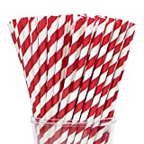 Webake Paper Straws Biodegradable Bulk 144 Red Striped Drinking Straws, Great Alternative Disposable Straws to Plastic Straws Eco Friendly Straw for Party, Cake Pop Sticks, Labor Day Decorations