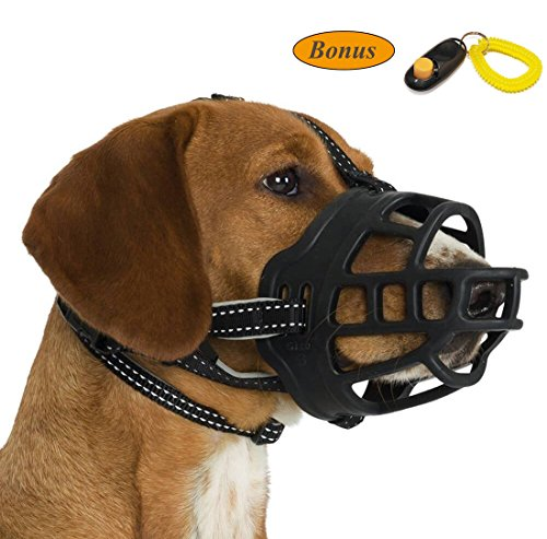 JeonbiuPet Dog Muzzle, Silicone Adjustable Basket Muzzle for Dog Anti-Chewing and Anti-Barking Allows Drinking and Panting (Size 5)