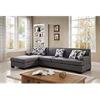 US Pride Furniture S0073-2PC Allen Modern Fabric Reversible Sectional Sofa Set, Grey