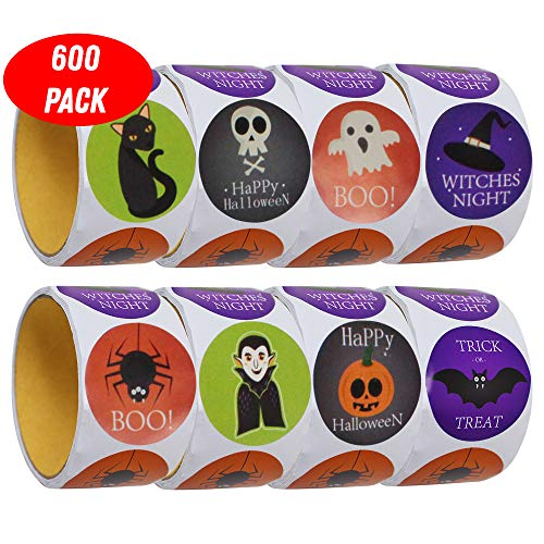 THE TWIDDLERS 600 Halloween Stickers - 5 Different Designs - with Happy Halloween Message ()