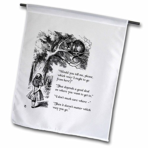 3dRose InspirationzStore Vintage Art - Which Way Ought I go from here Chesire cat - Alice in Wonderland Quote - 12 x 18 inch Garden Flag (fl_193784_1)