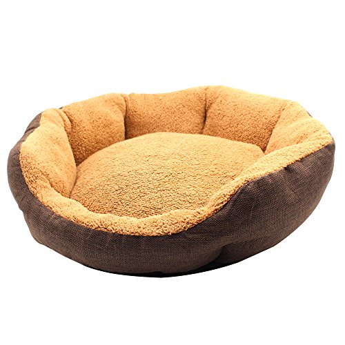 Aiicioo Round Pet Bed Gunny Designed for Dog Cat Bed Striped
