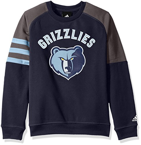 NBA Youth 8-20 Memphis Grizzlies Tech Fleece Long Sleeve Crew-Dark Navy-M(10-12)