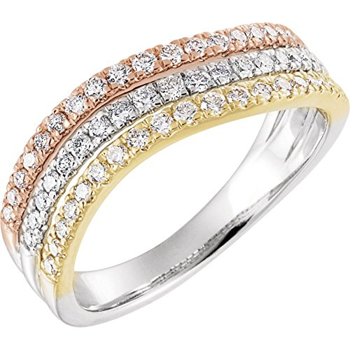 (FB Jewels 14K Rose Yellow and White Tri Color Gold 1/2 CTW Diamond Stacked Ring Size 7)