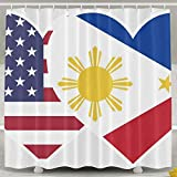 Philippines USA Flag Twin Heart Fashion Shower Curtain Deluxe Waterproof Bath Curtain 60 x 72inch