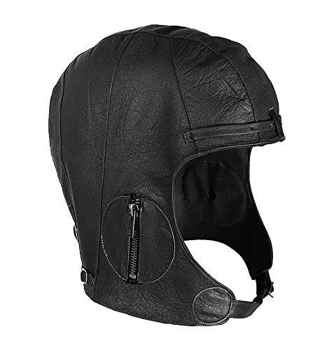 WWII Replica Vintage Black Leather Aviator Pilot Helmet Cap XL/2XL