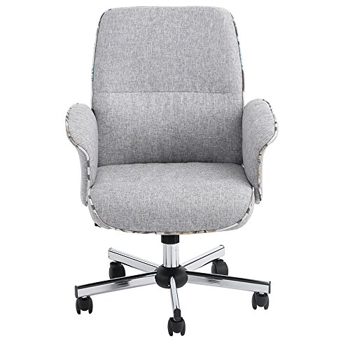 Middle Back Imitation Linen Wear-Resistant Antifouling Office Chair Gray by GOTOBUYWORLD