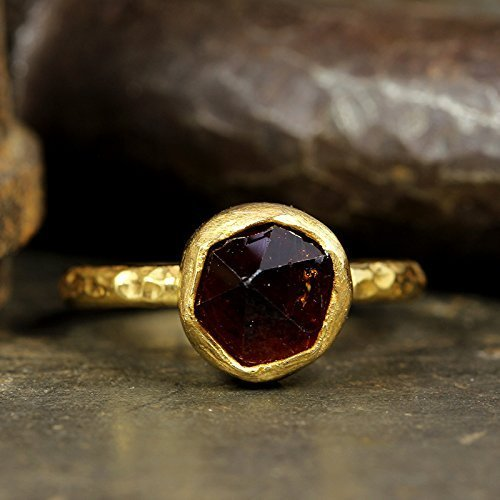 - Natural Raw Garnet Stacking Ring Handcrafted Hammered 24K Yellow Gold Vermeil 925 Solid Sterling Silver Stackable Rough Gemstone Ring