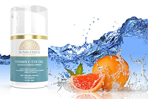 Vitamin C Eye Gel for Under Eye Bags Treatment Dark Circles Puffiness Wrinkles Crows Feet and Anti Aging Skin Care with Hyaluronic Acid Made in USA by SunBlessed Botanicals by SunBlessed Botanicals (Image #4)