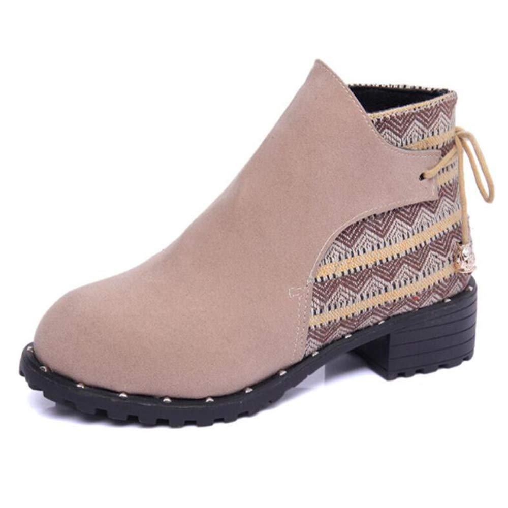 CITW Damenstiefel Herbst-Und Winter Stiefel Lässige Damenstiefel Frostete Stiefel Fashion Lace Martin Stiefel Snow Stiefel Fashion Stiefel Beige UK3 EUR37