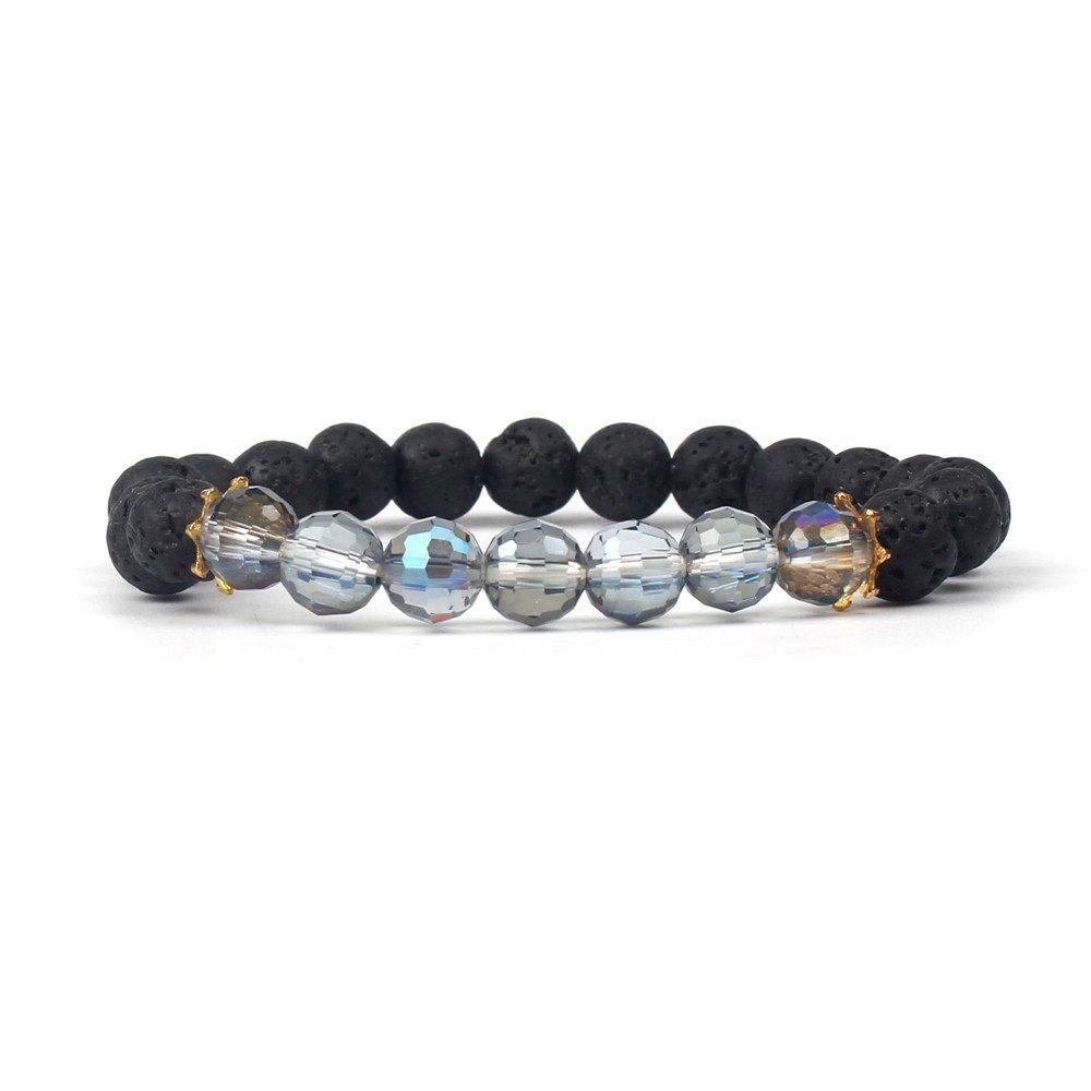 Shinus Women Mala Beads Chakra Boho Bracelets Lava Volcanic Stone Mix Faceted Glass Crystal Metal Charm Handmade Jewelry