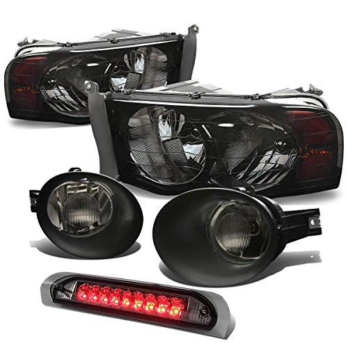 For Dodge Ram Headlight (Smoke)+Bumper Fog Light (Smoke Lens)+LED Third Brake Light (Smoke)