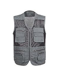 Men's Mesh Fishing Vest Lightweight Photography Waistcoat Multi pockets travel Jacket