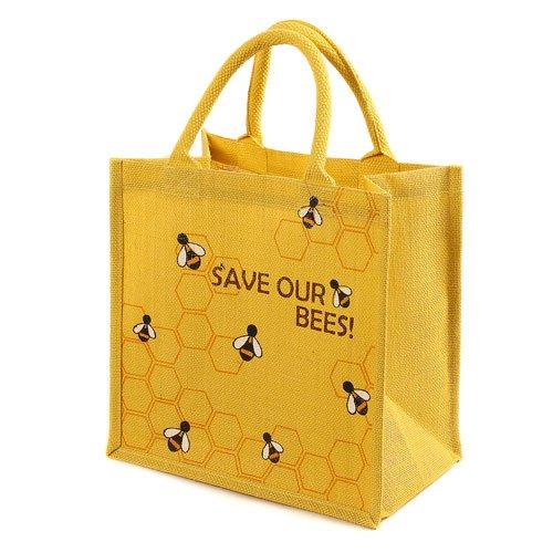 Sacchetto di iuta shopping bag maniglie imbottite Save our api giallo Shared Earth