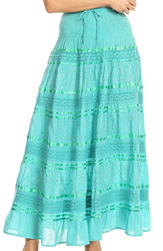 Sakkas 0604 Lace and Ribbon Peasant Boho Skirt - Aqua - OS