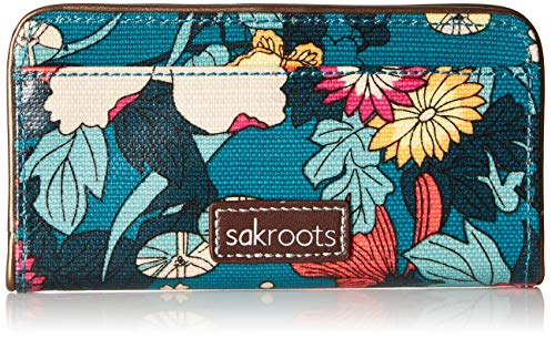 Sakroots Slim Wallet, Teal Flower Power ,