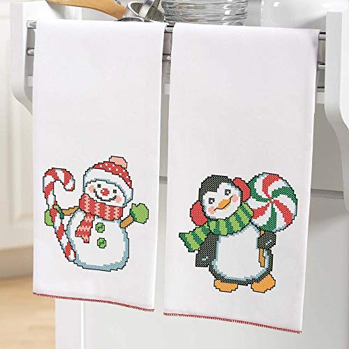 (Herrschners® Peppermint Pals Towel Pair Stamped Cross-Stitch)