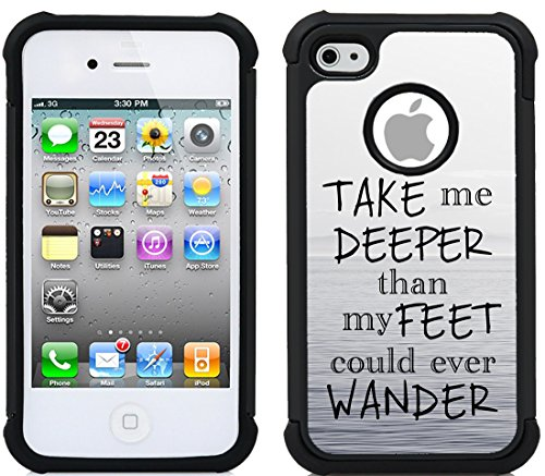 CorpCase iPhone 4 Case / iPhone 4S Case - Bible Verse Christian Quote Take Me Deeper Than My Feet Could Wander / Hybrid Unique Case With Great Protection