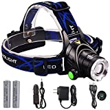 GRDE LED Headlamp Zoomable 3 Modes Waterproof Headlight for Outdoor Camping Hunting Running Hiking, Rechargeable Batteries Wall Charger Car Charger and USB Cable Included
