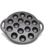"Kasian House Cast Iron Griddle for Making Poffertjes Pancake Balls, Takoyaki, and Thai Kanom Krok and Other SMALL Desserts, 1.5"" DIAMETER Half Sphere Molds, Pre-Seasoned"