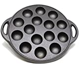 Kasian House Cast Iron Griddle for Making Poffertjes Pancake Balls, Takoyaki, and Thai Kanom Krok and Other Desserts, 1.5'' Dia Half Sphere Molds, Preseasoned
