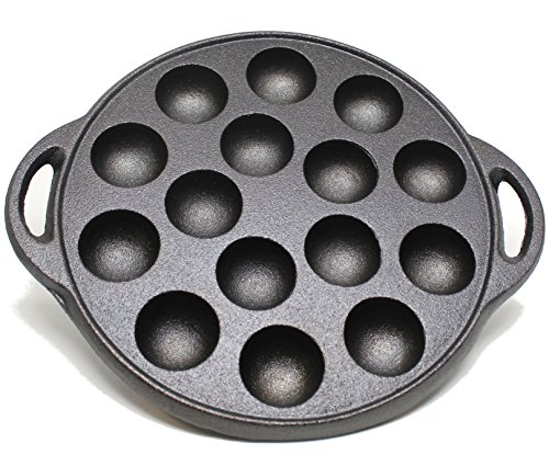 Cast Iron Griddle by Kasian House for Making Poffertjes Pancake Balls, Takoyaki, and Thai Kanom Krok and Other Desserts, 1.5