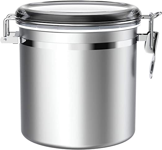 Stainless Steel Airtight Canister for Kitchen, ENLOY Large Flour Coffee Bean Tea Cereal Sugar Cookie Metal Food Storage Canisters with Clear Lid and Sturdy Locking Clamp