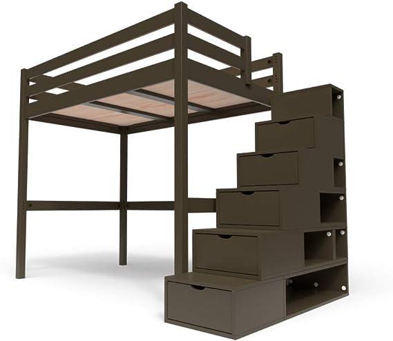 ABC MEUBLES Cama Altillo Sylvia 120x200 cm con Escalera Cubo - Wengé: Amazon.es: Hogar