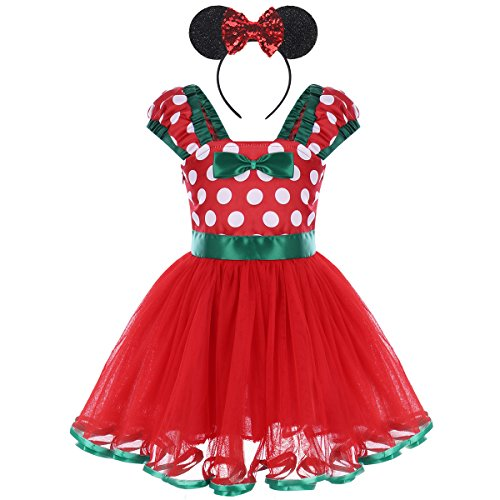 Toddler Baby Girls Polka Dots Princess Birthday Party Fancy Costume Tutu Dress Up 3D Mouse Ears Headband 1-4T Red Dress + Sequin Ear Headband 3-4 Years