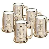 Personalized Gunmetal Beer Mugs - Personalized Beer Mugs - Stamped Monogram - Set of 5